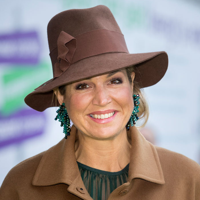 Queen Maxima channeled Indiana Jones as she stepped out wearing a fedora to open the national education exhibition at the Jaarbeurs Utrecht in The Hague, Netherlands. 