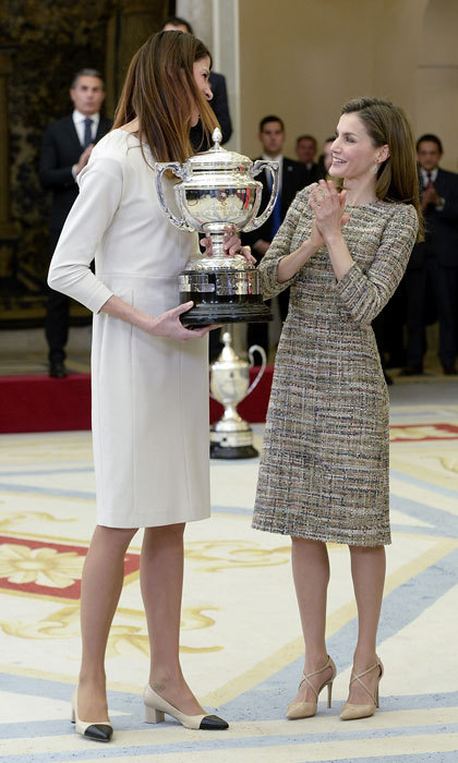 Queen Letizia of Spain presented a National Sports Awards to Olympic athlete Ruth Beitia at El Pardo Palace in Madrid, Spain. 