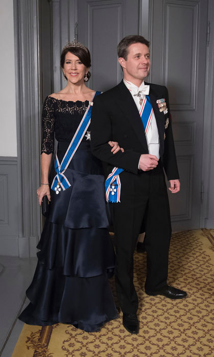Crown Princess Mary of Denmark and Crown Prince Frederik of Denmark made a dashing duo at a Gala Dinner for Iceland's President at Amalienbog Castle in Copenhagen, Denmark.