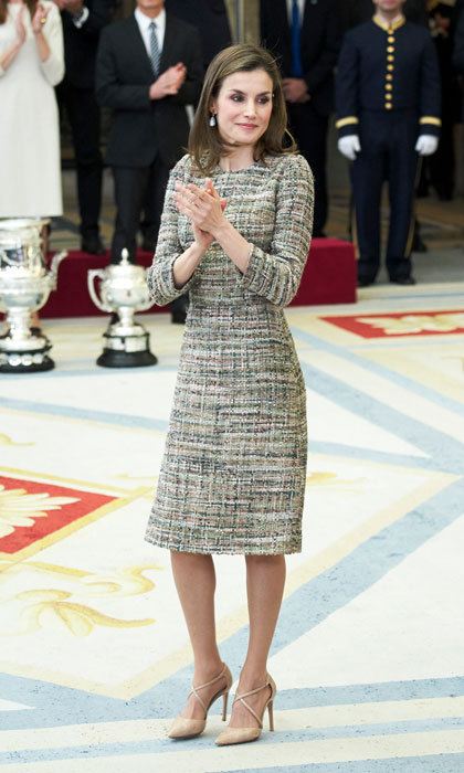 The Spanish monarch opted for a sophisticated tweed sheath dress for the National Sports Awards at the El Pardo Palace in Madrid, Spain. 