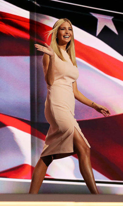 Ivanka was pretty in pink wearing a sheath dress from her own collection to the 2016 Republican National Convention in Cleveland, Ohio. 