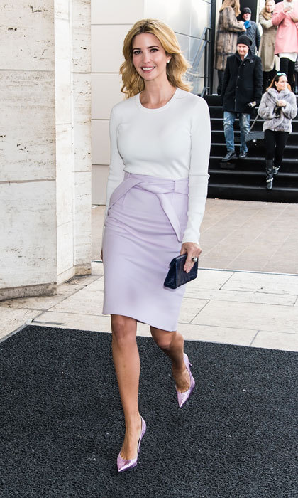 The businesswoman looked effortlessly stylish stepping out in a lavender pencil skirt and long-sleeve white top for the Carolina Herrera fashion show during Mercedes-Benz Fashion Week Fall 2015 at Lincoln Center.