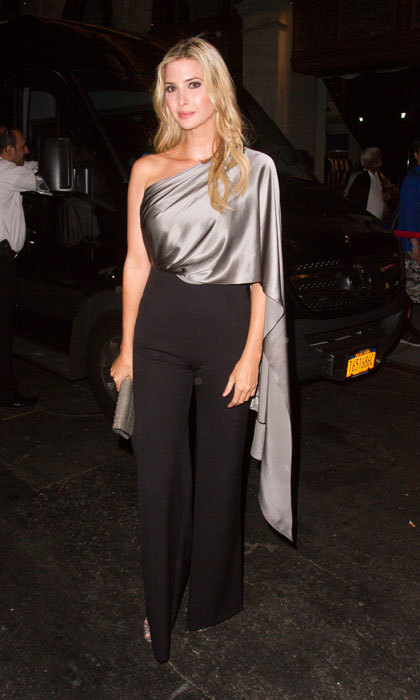 It was a night on the town for Ivanka Trump wearing a silver one-shoulder blouse and high-waisted black trousers in Manhattan.
