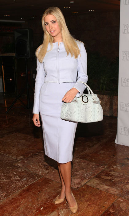 "It was business chic as usual for the first daughter donning a periwinkle skirt suit to the 2006 Trump Magazine celebrates ""Going Public"" event in New York City.
