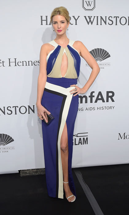 Ivanka flashed skin in a color block dress at the 2015 amfAR New York Gala in New York City. 