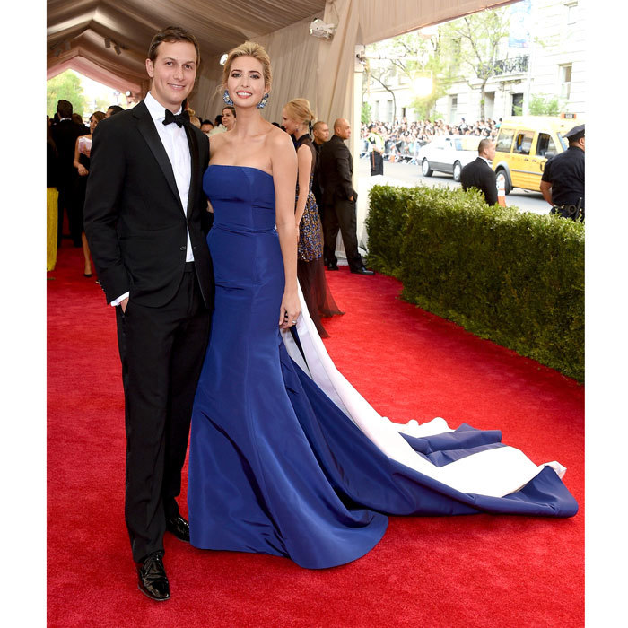 "Ivanka Trump (pictured with husband Jared Kushner) turned heads wearing a custom blue and white Prabal Gurung gown to the 2015 ""China: Through The Looking Glass"" Costume Institute Benefit Gala at the Metropolitan Museum of Art. Discussing her daughter Arabella with <b>HELLO!</b>, the businesswoman said, ""She thought I looked like Elsa.""