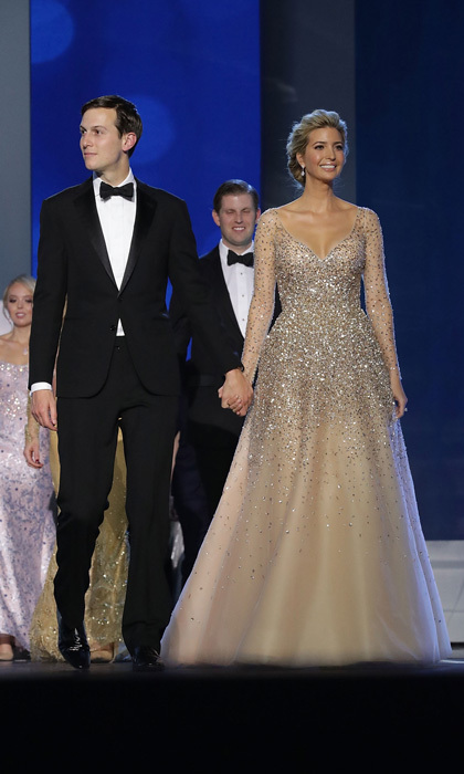 Ivanka dazzled at her father's 2017 inauguration balls in Washington, DC. The first daughter wore a sparkling champagne-colored ballgown by Carolina Herrera for the occasion.
