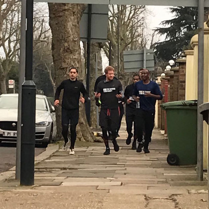 Run Harry, run! The British Prince joined the Running Charity, which helps transform the lives of young people experiencing homelessness, for a 1 1/4 mile run through Willesden Green, London.