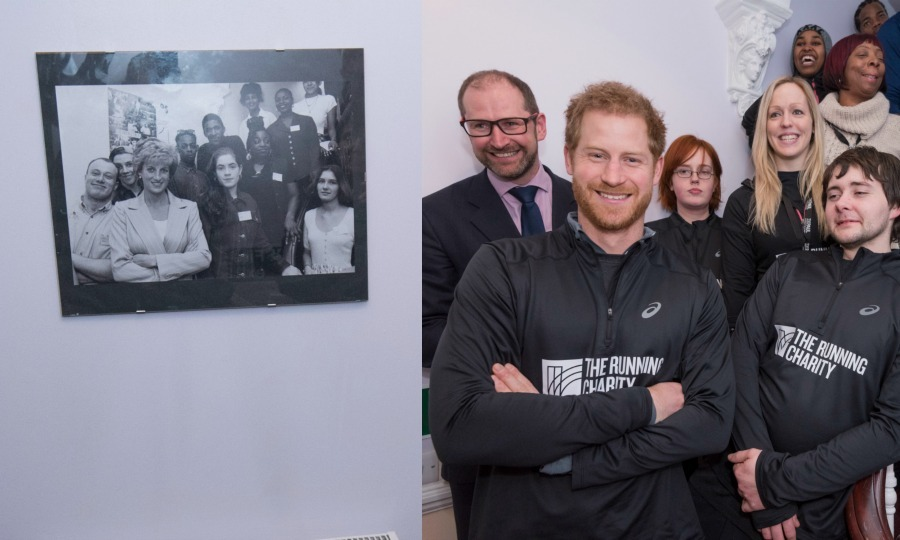 Picture perfect! Prince Harry recreated Diana's photograph on the stairs of the Willesden Green hostel in January 2017. The Prince paid tribute to his mother as he struck a smile and did the exact same stance as Diana for a picture with members of The Running Charity. 