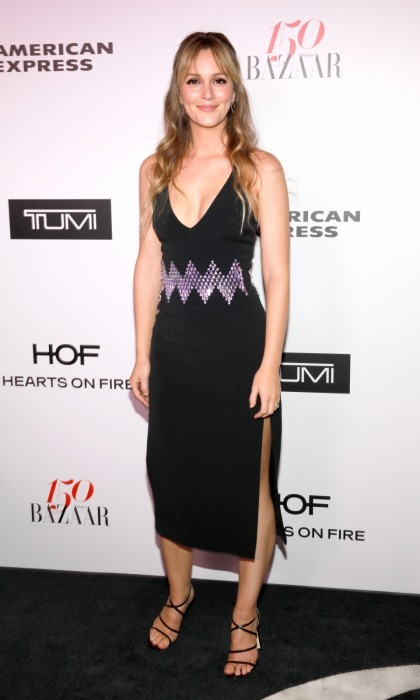January 27: Leighton Meester worked the Harper''s BAZAAR carpet in a David Koma dress. The actress looked elegant as she joined in on the celebration of the 150 Most Fashionable Women at Sunset Tower Hotel in West Hollywood.