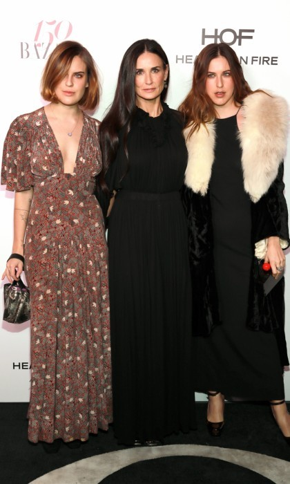 January 27: Girls' night out! Demi Moore took her daughters, Scout LaRue Willis and Tallulah Belle Willis, to the Harper's BAZAAR celebration of the 150 Most Fashionable Women. The trio looked glamorous as they walked the red carpet at Sunset Tower Hotel in West Hollywood, California.