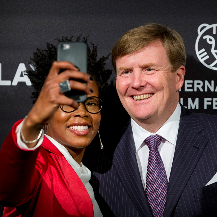 Say cheese! King Willem-Alexander of the Netherlands posed for a selfie at the premiere of <i>Double Play</i> at the International Film Festival Rotterdam in Utrecht. 