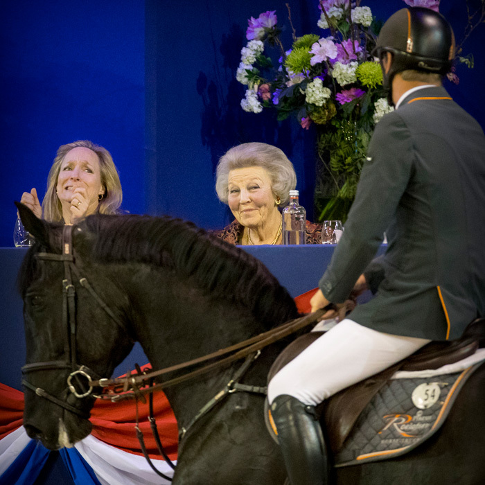 The Netherlands' former queen Princess Beatrix, center, and her cousin Princess Margarita got into the spirit as they attended the Jumping Amsterdam International horse show in Amsterdam.