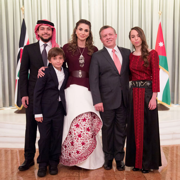 "Queen Rania penned a sweet tribute to her 55-year-old husband King Abdullah and young son Hashem, 11, seen in this family photo front left, on their joint birthday on January 30 writing, ""A very special day in my family as we celebrate the birthdays of His Majesty and Hashem. Happy birthday to my two loves.""