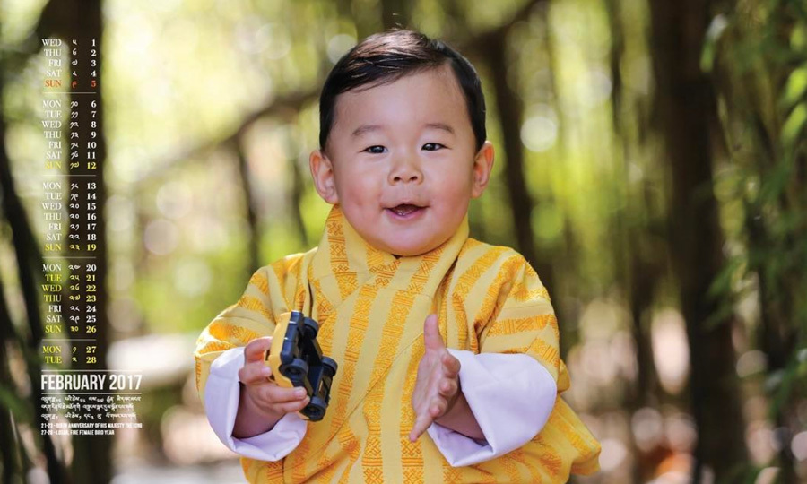 "Ahead of his son's first birthday on February 5, King Jigme shared an ""adorable photograph"" of his son featured in the Bhutan February Desktop Calendar.