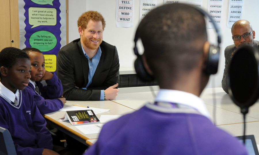 "Prince Harry attended a lyrical writing class while visiting the Full Effect and Coach Core programs at Nottingham Academy in Nottingham, England. After watching students rap for him, one asked if he would want to test out his skills to which he replied: ""I'm wearing a jacket for a reason.""