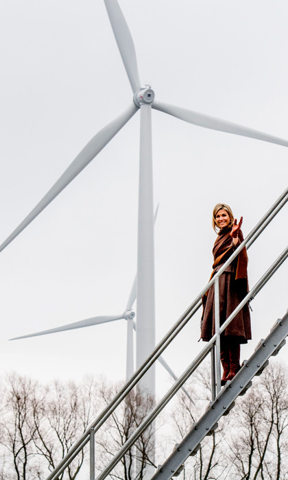 Gone with the wind! Queen Maxima looked glamorous for her visit to the windmill park Nijmegen-Betuwe in Nijmegen, The Netherlands. 