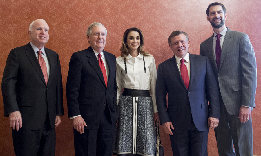 King Abdullah and Queen Rania posed with (from right to left) US Senator John McCain, Senate Majority Leader Mitch McConnell and Senator Tom Cotton prior to a meeting at the US Capitol in Washington, D.C. 
