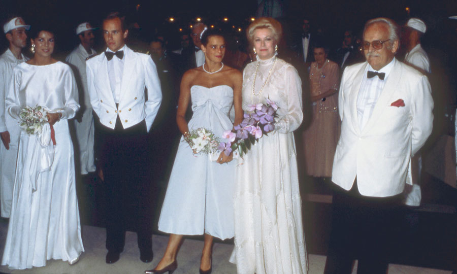 The royal was a vision in a white strapless frock standing beside her mother Princess Grace Kelly at the 1982 Red Cross Ball. 