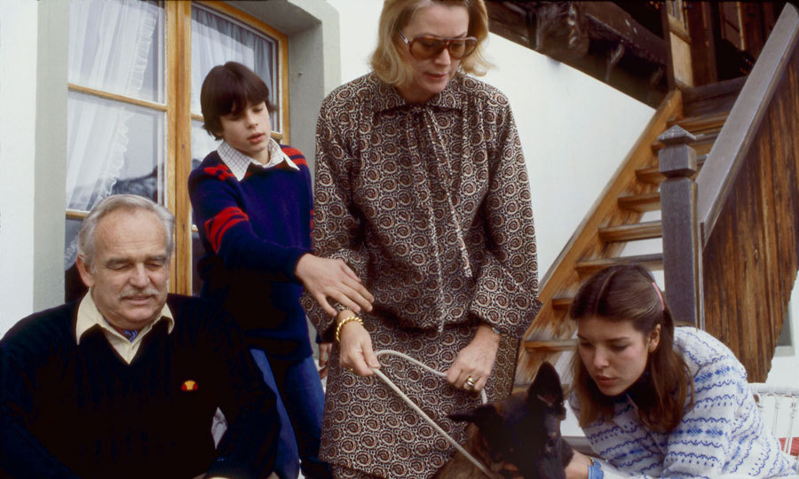 Stephanie embraced the tomboy look wearing a collared shirt and navy sweater, while on a 1979 holiday with her parents, Prince Rainier and Princess Grace, and sister Princess Caroline at their chalet in Gstaad, Switzerland.