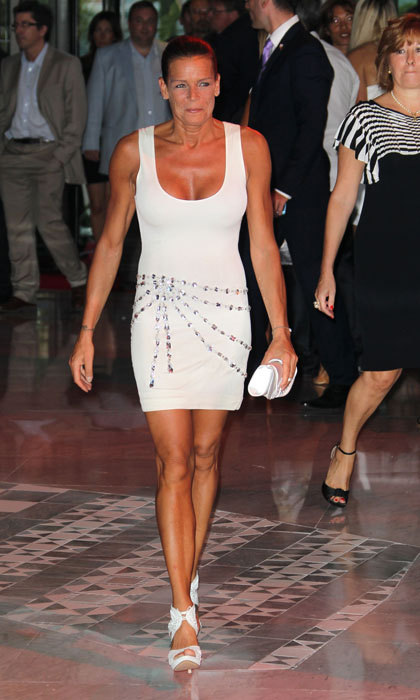Grace Kelly's daughter showed off her toned figure and arms wearing a body-hugging white mini dress that featured embellishments to the 2011 FightAids Monaco Summer Gala.