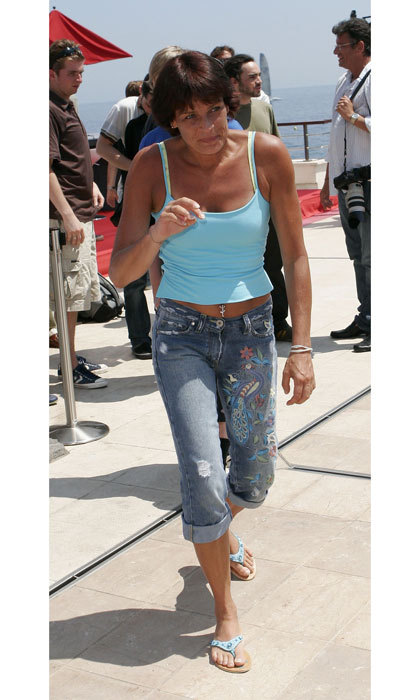 The Monaco Princess looked laid-back in a blue tank and denim embroidered jeans, while walking around the 2006 Monte Carlo Television Festival.