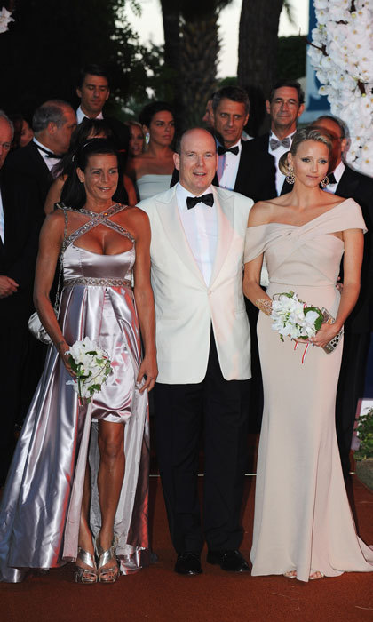 Stephanie went the edgy route flashing skin in a metallic number, alongside her brother Prince Albert and now sister-in-law Princess Charlene at the 2010 Monaco Red Cross Ball.