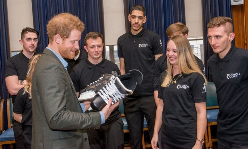 "Prince Harry cleverly was able to skate around the issue of hitting the ice during his visit to Nottingham Council House. After being given a pair of skates from the Coach Core apprentices for a second time, he joked,  ""Part of the reason for getting you to sign them, is so I don't have to wear them - I can put them on my shelf.""