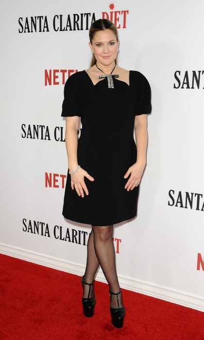 February 1: Drew Barrymore rocked a little black dress with a stylish embellished bow by Marni during the premiere of <i>Santa Clarita Diet</i> in Hollywood. 