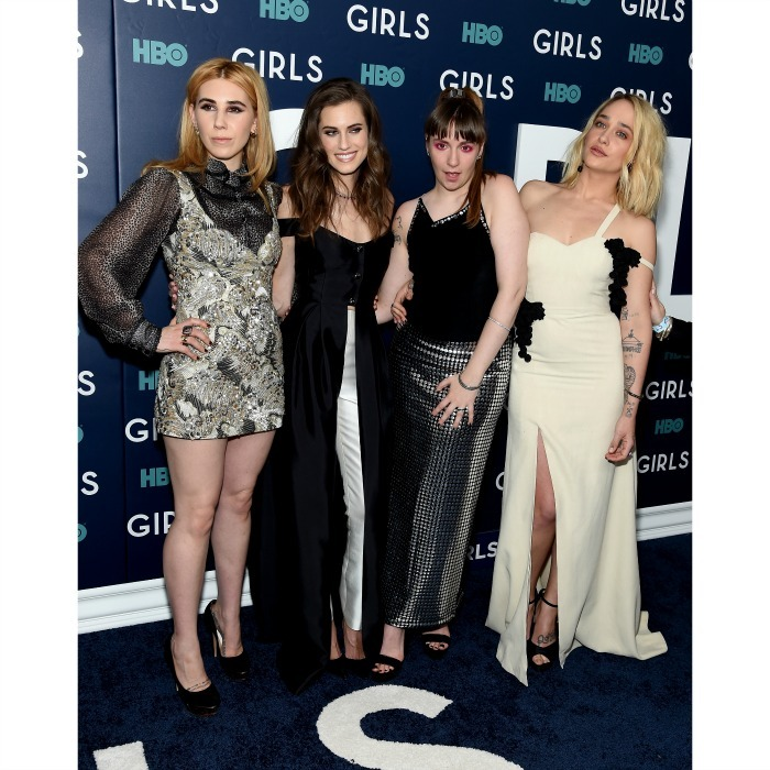 February 2: A night for the girls! Zosia Mamet (in Marc Jacobs), Allison Williams (in Gabriela Hearst), Lena Dunham (in Todd Oldham) and Jemima Kirke (in Rosie Assoulin) posed for a group shot during the premiere of the final season of their HBO series <i>Girls</i> in NYC. 