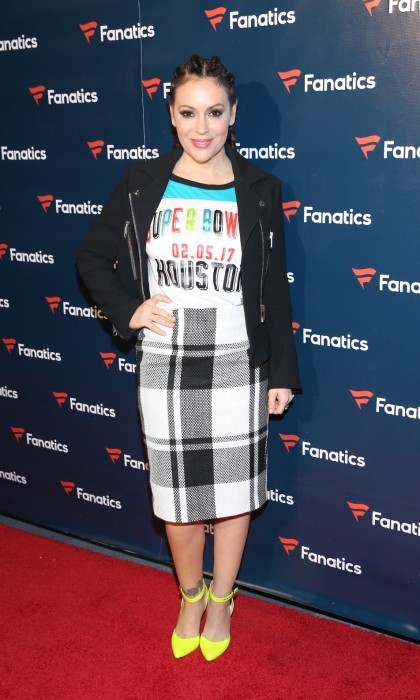 February 4: Alyssa Milano arrived in a custom t-shirt at the FANATICS Super Bowl Party at The Ballroom at Bayou Place in Houston.