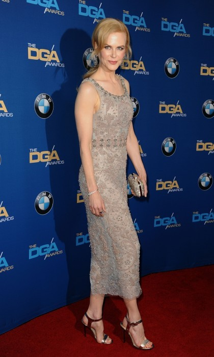 February 4: Nicole Kidman looked stunning on the 69th Directors Guild of America Awards red carpet at The Beverly Hilton Hotel. The acclaimed actress arrived in a glamorous Marchesa beaded dress and shiny heels for the annual event in Beverly Hills. 