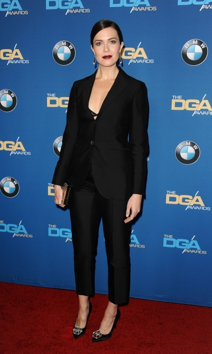 February 4: Mandy Moore opted for a sophisticated look at 2017 DGA Awards, sporting a black tuxedo and trousers. She paired the ensemble with slicked back hair and dark berry lips.