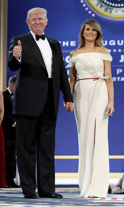 In what is likely her most-anticipated appearance to date – the inauguration balls on January 20 –  the new first lady wore a sleek off-the-shoulder vanilla crepe gown that featured a slit. The elegant design was a collaboration with Hervé Pierre, the former creative director of Carolina Herrera.