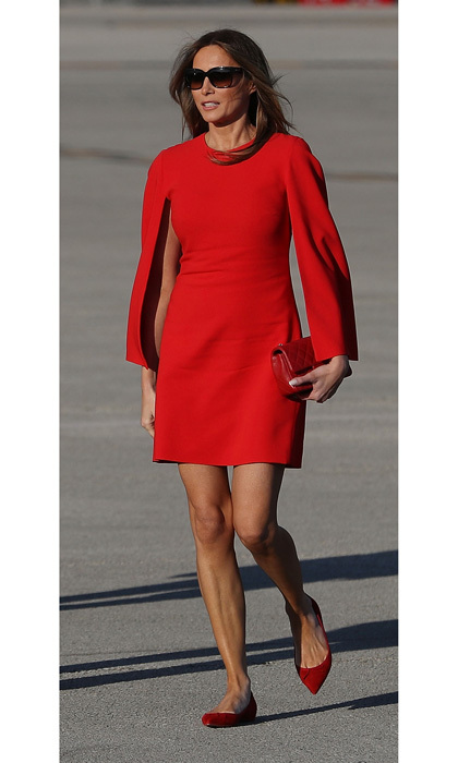 In her first post-inauguration appearance, Melania went for French style from head to toe as she arrived in Palm Beach on Super Bowl weekend, wearing a Givenchy dress that she paired with matching Christian Louboutin flats.