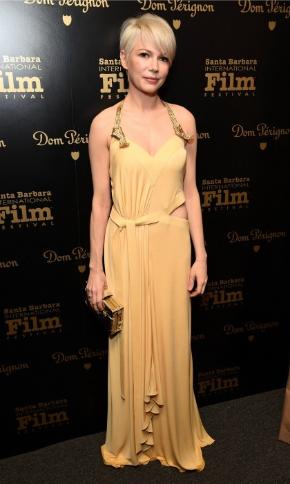 February 5: Michelle Williams shined in a golden gown while visiting the Dom Perignon Lounge at the Santa Barbara International Film Festival. 