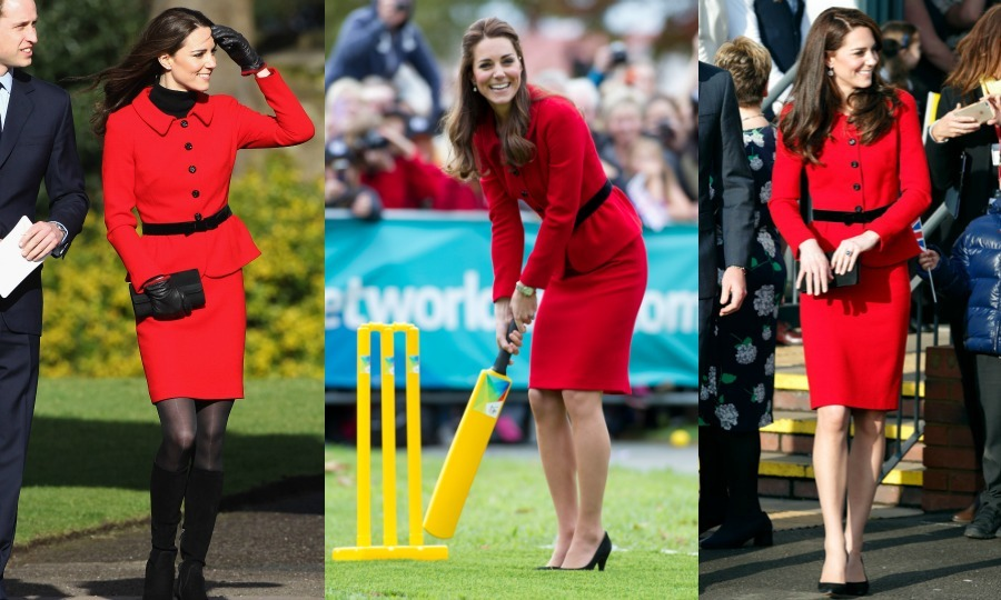 Kate Middleton set a record recycling her beloved red skirt suit by Luisa Spagnoli for a fourth time for her 2017 Place2Be Big Assembly engagement. The Duchess first wore the stylish ensemble back in 2011 during a visit to St Andrews University with Prince William and again in 2014 on her royal tour of New Zealand. Kate was photographed wearing the scarlet outfit again on her way to the Queen's pre-Christmas lunch at Buckingham Palace in 2015. 