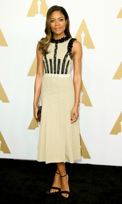 February 6: Naomie Harris wore a dress by Bottega Veneta during the 89th Annual Academy Awards Nominee Luncheon in Beverly Hills. 
