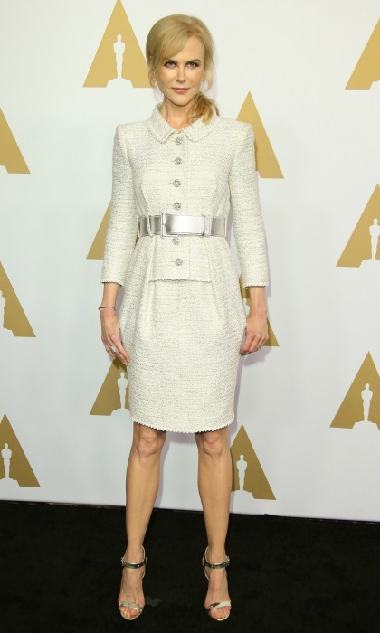 February 6: Nicole Kidman kept up her awards season style in a classic Chanel frock during the 89th Annual Academy Awards Nominee Luncheon in Beverly Hills. 