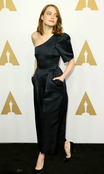 February 6: Emma Stone turned the carpet into her runway during the 89th Annual Academy Awards Nominee Luncheon in Beverly Hills. The <i>La La Land</i> actress was ever chic in a jumpsuit by Stella McCartney. 