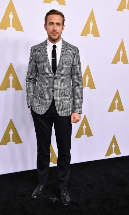 February 6: Check out that style! Ryan Gosling looked dapper in a suit by  Salvatore Ferragamo during the 89th Annual Academy Awards Nominee Luncheon in Beverly Hills. 