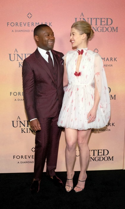 February 6: Rosamund Pike in Giambattista Valli coordinated looks with her <i>United Kingdom</i> co-star David Oyelowo during the film's premiere in NYC. 