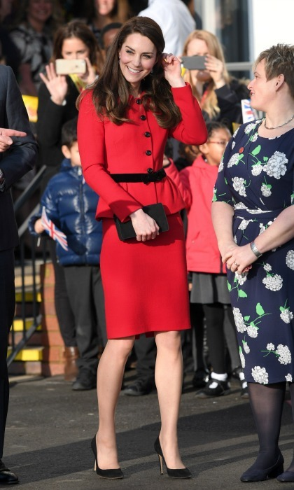 Fourth time was a charm for Kate Middleton, who wore her red Luisa Spagnoli skirt suit during the Place2Be Big Assembly With Heads Together for Children's Mental Health Week in London. 
