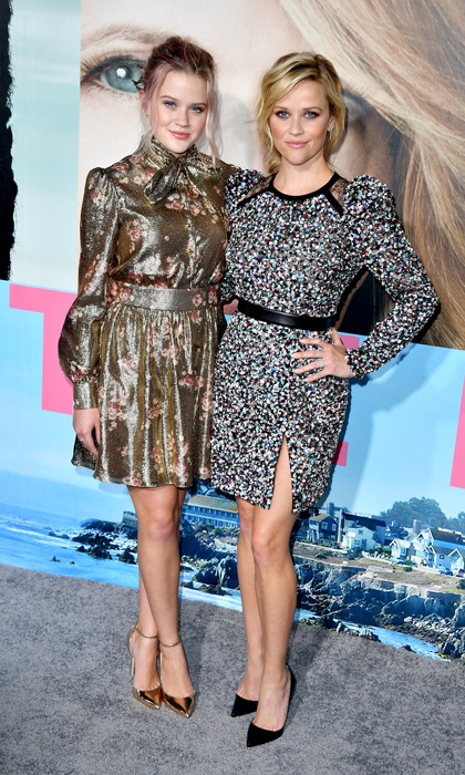 February 7: Seeing double! Reese Witherspoon and her look-alike daughter Ava Phillippe made a colorful pair at the premiere of HBO's <I>Big Little Lies</i>. The mom-of-three stepped out in an Elie Saab minidress, while Ava wore a metallic floral print dress by Haney.