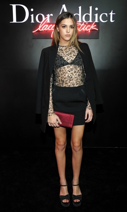 February 8: Darling at Dior! Sistine Stallone went for an all black lace look during the Dior Addict Lacquer Stick launch in West Hollywood. 