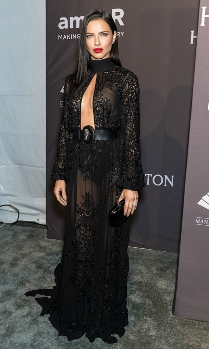 February 8: Adriana Lima went for an all black look with the help of Zuhair Murad during the 19th Annual amfAR New York Gala. 