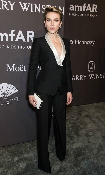 February 8: Suited up! Scarlett Johansson took the plunge in a fitted tux during the 19th Annual amfAR New York Gala. 