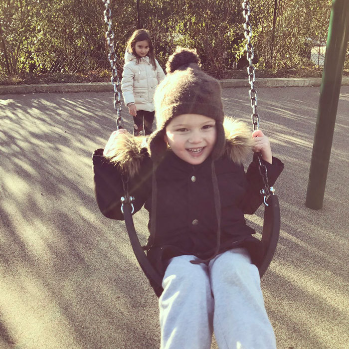 Joseph went for a swing at a D.C. playground with his mom and sister Arabella.