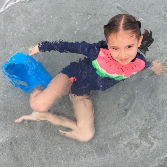Too sweet! Arabella made a splash during her family's trip to Hawaii, while looking adorable wearing a watermelon swimsuit. 