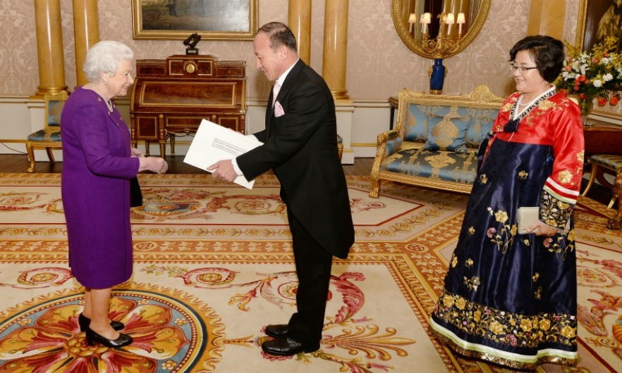 Queen Elizabeth was presented with a special set of letters of credence by the Ambassador of the Democratic People's of Korea, Mr. Choe Il. 